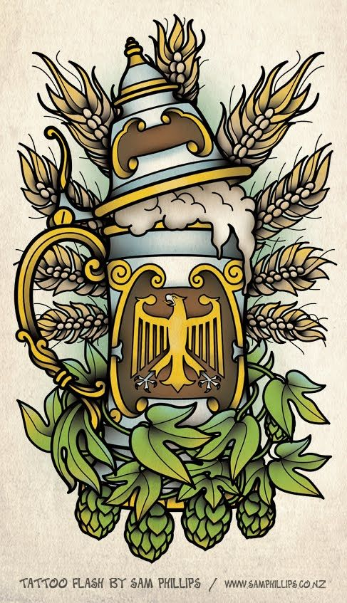 Sam Phillips: German Beer Stein Tattoo - would get this with pinecones and maybe the Bavarian flag on the stein haha, cute idea