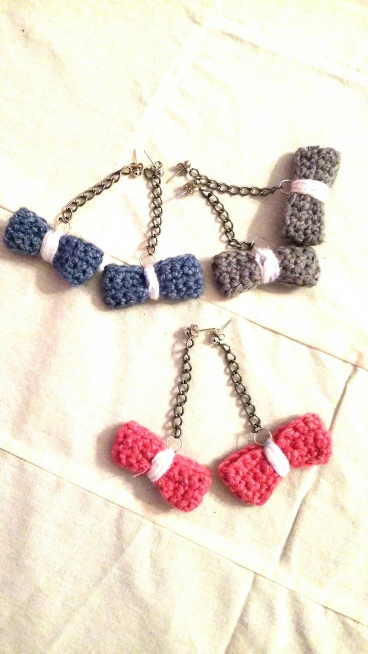 Drop bow earrings / crochet /girly stuff / sweet 16 /color made to order/ready to ship by KaterinakiJewelry on Etsy
