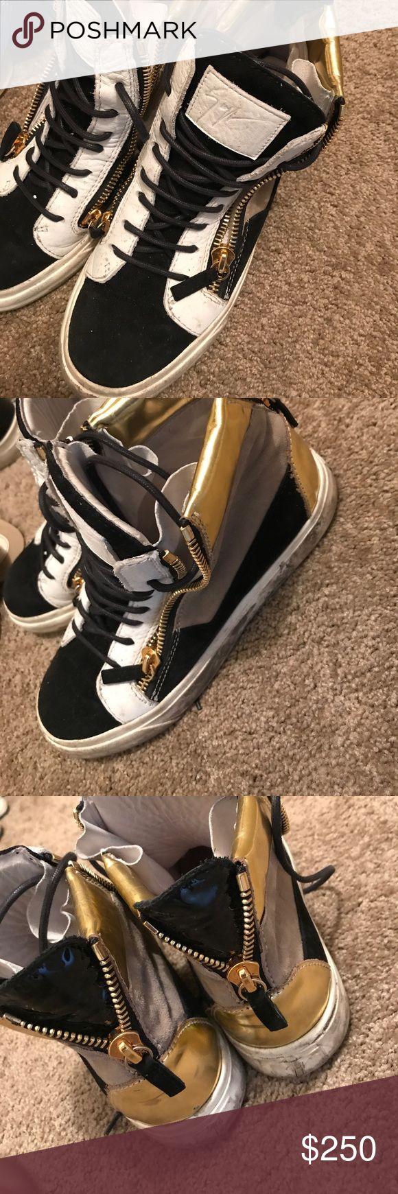 Giuseppe sneakers , worn! Black , white and tan designer sneakers Giuseppe Zanotti Shoes Sneakers