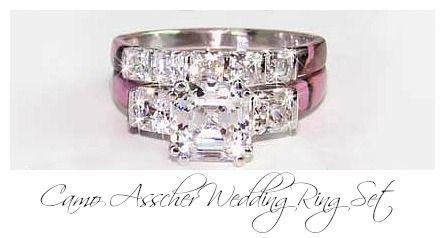 Camo Asscher Wedding Ring Set
