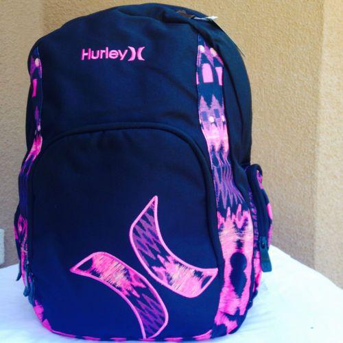2a484e525d Hurley-Pink-black-girls-womens-backpack-school-supplies-laptop ...
