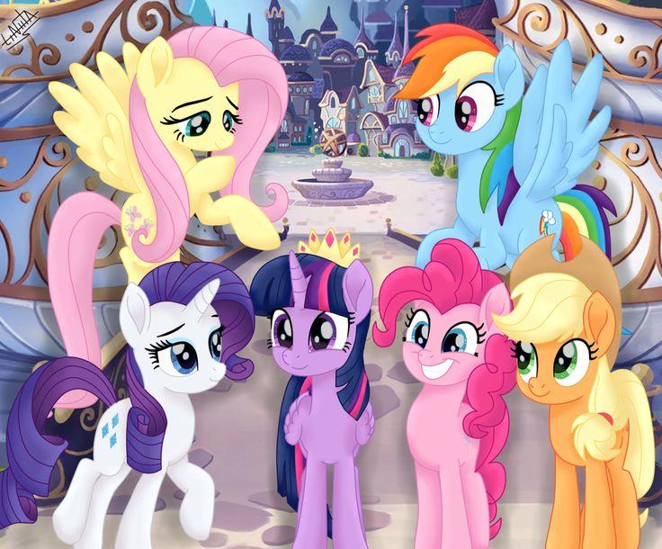 #1633447 - alicorn, applejack, artist:liniitadash23, canterlot, earth pony, female, fluttershy, flying, mane six, mare, my little pony: the movie, pegasus, pinkie pie, pony, rainbow dash, rarity, safe, smiling, spoiler:my little pony movie, twilight sparkle, unicorn - Derpibooru - My Little Pony: Friendship is Magic Imageboard