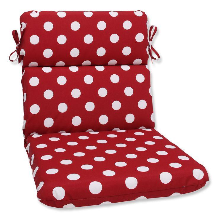Pillow Perfect Outdoor White Polka Dot Round Chair Cushion