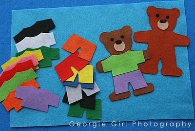 This could be a good language activity.  This would be great for practicing colors and following directions, one-step and two-step.  Put the red shirt on the green bear or put the red shirt and blue shorts on the boy bear.  (Modify these patterns)