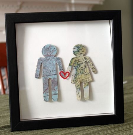 Cover chipboard people with maps showing where you are from. Two chipboard shapes + two maps + a heart sticker + a frame = instant, meaningful, classy, mappy home decor.