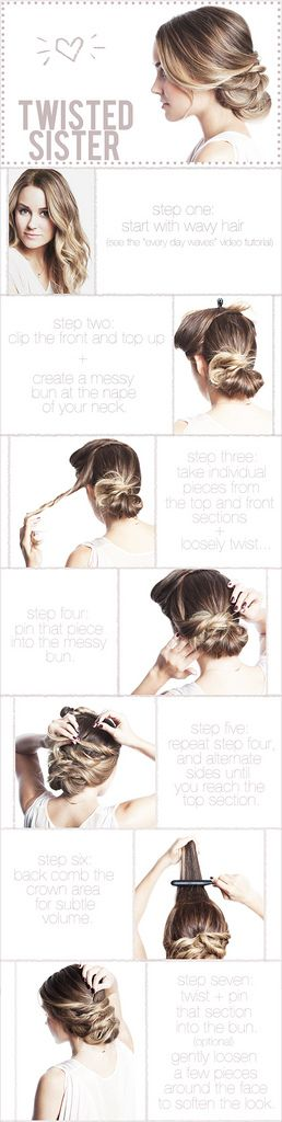 Love this! Saw a picture with the same hairstyle but LC parted her hair on the side. It looks easy and elegant. Wish me luck! I think I'm going to try this out for the Marine Corps Ball