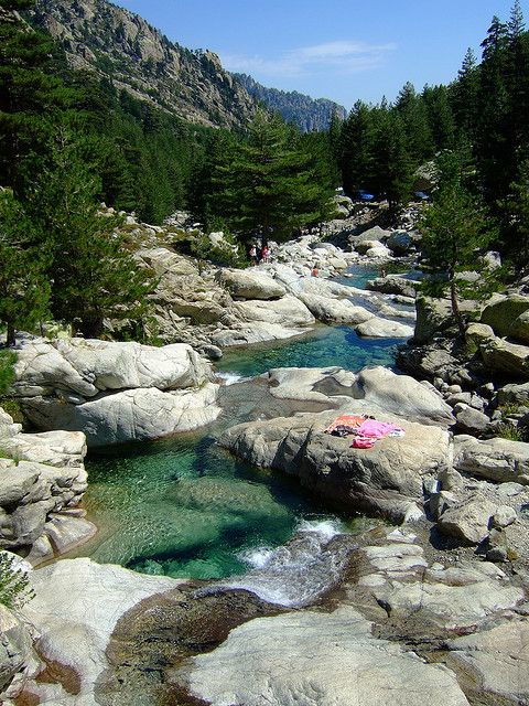 Restonica Valley in Corsica, France . Swimming naked in natural swimmingpools. Cool.  Summer 2005