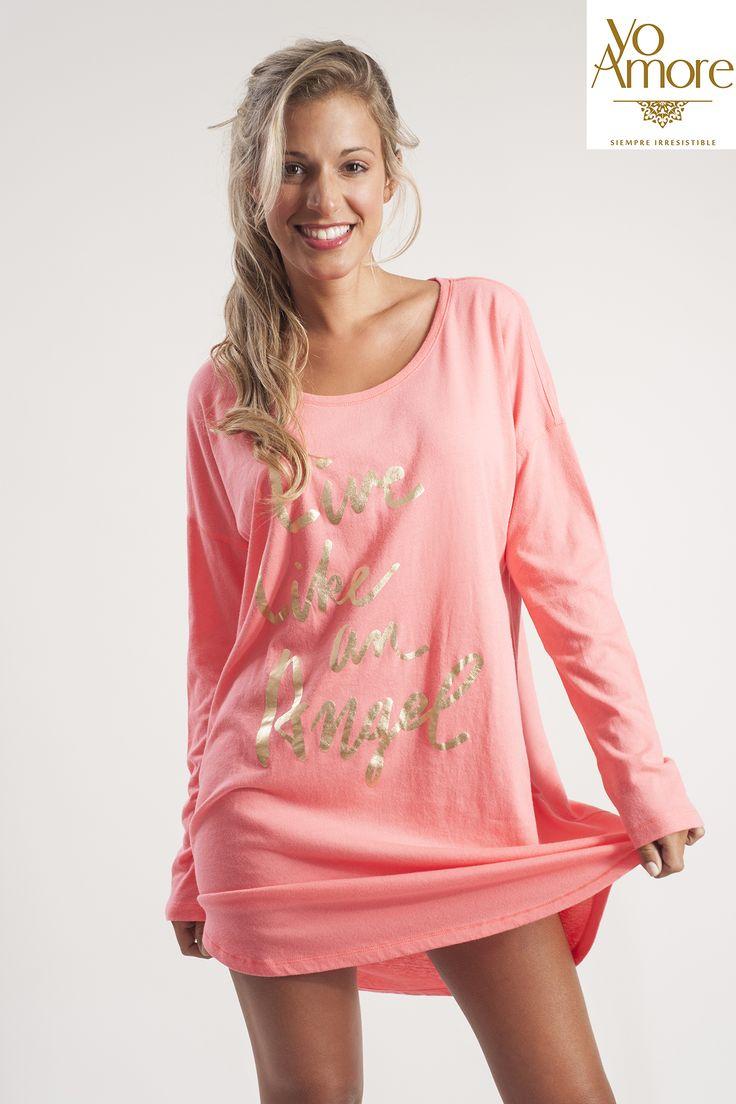 #Pijama tipo #camisón, en algodón #VictoriaSecret #lenceria #Moda #Chile #yoamore