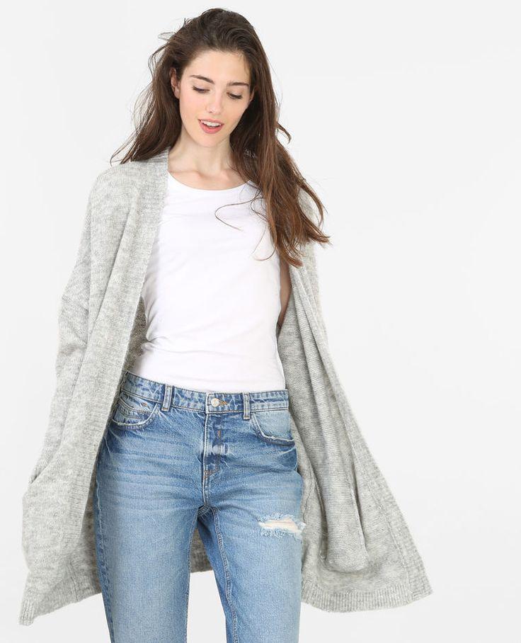 Chaqueta larga gris 8% lana 36€