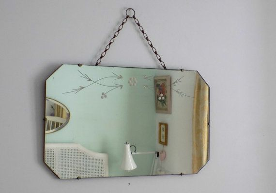 C H A R M I N G   English Art  Deco frameless floral etched mirror 8 sided…