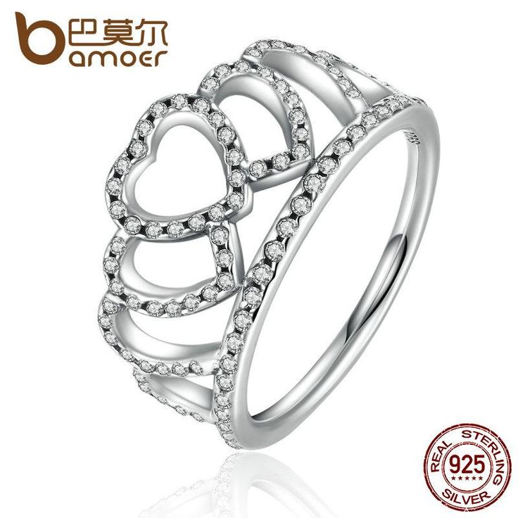 Fine Rhodium Plated Silver Crown Ring for Girls Full size J to U Cubic Zircon Fashion Women Jewellery 48Gu8d