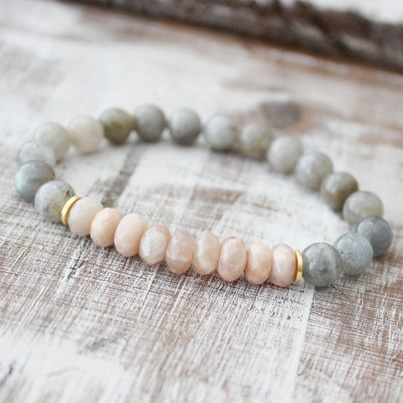Sunstone Bracelet Labradorite Bracelet Healing Jewelry Intention Jewelry Yoga Bracelet Mala Beads