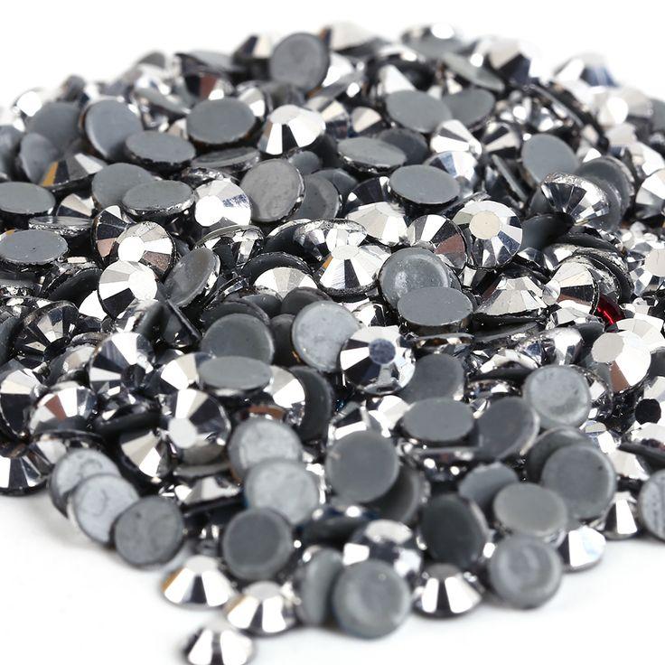 AAAA+Quality Silver Hematite DMC Flatback Crystals Hot Fix Rhinestones,Garment Accessories Gray Glue.SS6,SS8,SS10,SS16,SS20,SS30