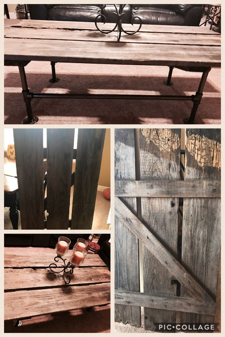 Coffee table made out an old wood gate and galvanized pipe!