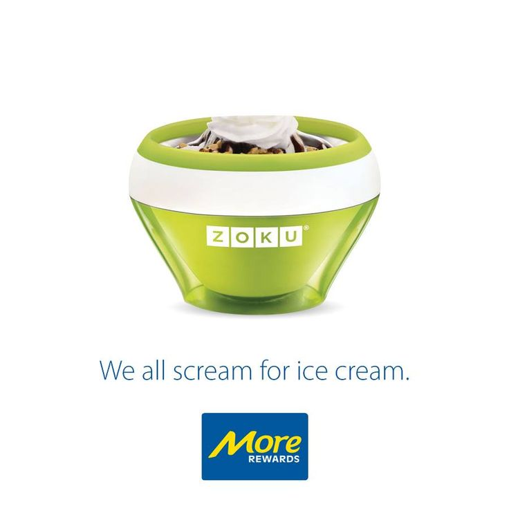Make individual portions of ice cream, custard, frozen yogurt, gelato, sorbet, or sherbet in as little as 10 minutes with the Zoku Ice Cream Maker!  Check it out here: https://www.morerewards.ca/catal…/zoku-ice-cream-maker-green