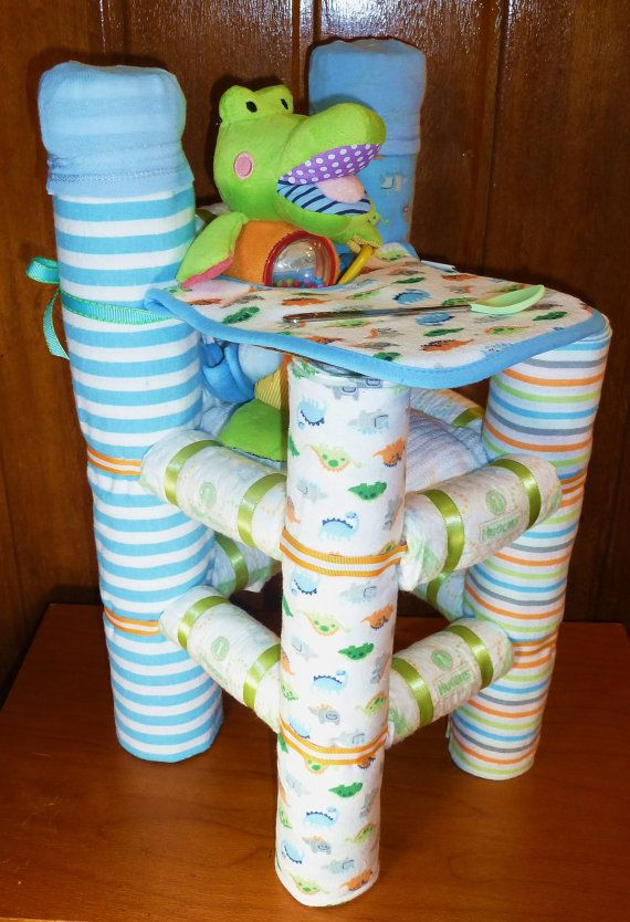 High Chair Diaper Cake by DiaperCreationsByD on Etsy, $80.00