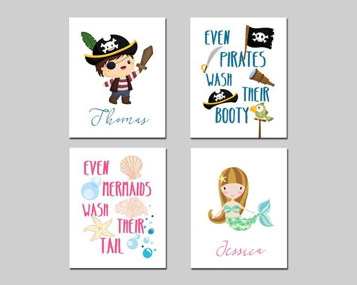 Pirate and mermaid personalized kids bathroom printable art set, custom kids bathroom wall art, kids bathroom decor download by AlexanderAndJJ on Etsy