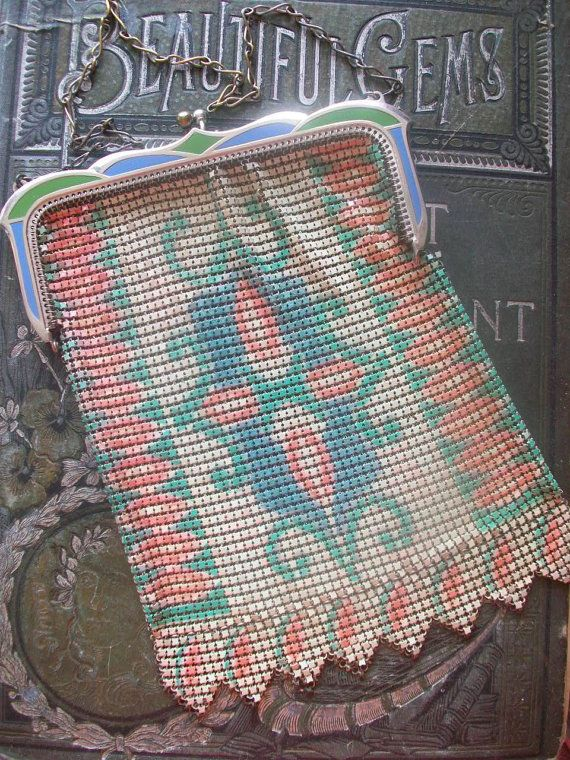 Gorgeous Antique Enameled Mesh Purse Signed Whiting by VintageEnvy: Carrythisbag Purselady, Antique Finds, Bags Purses, Antique Purses, Purse Collection