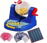 Wish | Mini Bingo lotto Traditional Fun Family Game Tombola Machine New Game Machine Ernie Lottery Fun Puzzle Desktop Toys (Color: Blue)