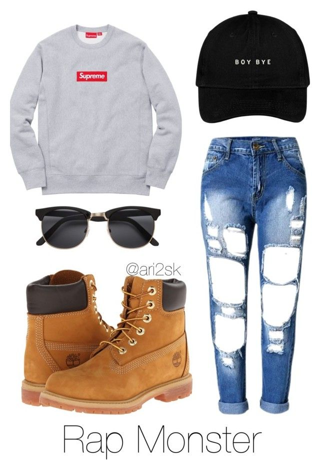 Traveling with Rap Monster  by ari2sk on Polyvore featuring polyvore, fashion, style, Timberland and clothing