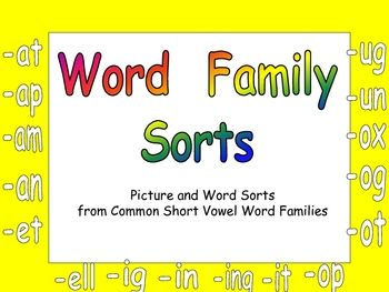 This file will give your students extra practice reading and sorting words from 16 common short vowel word families. Students will cut out pict...: Literacy, School, Family Sorts, Class Sorts Phonics, Language Reading, Word, Families, Short Vowel, Reading Language