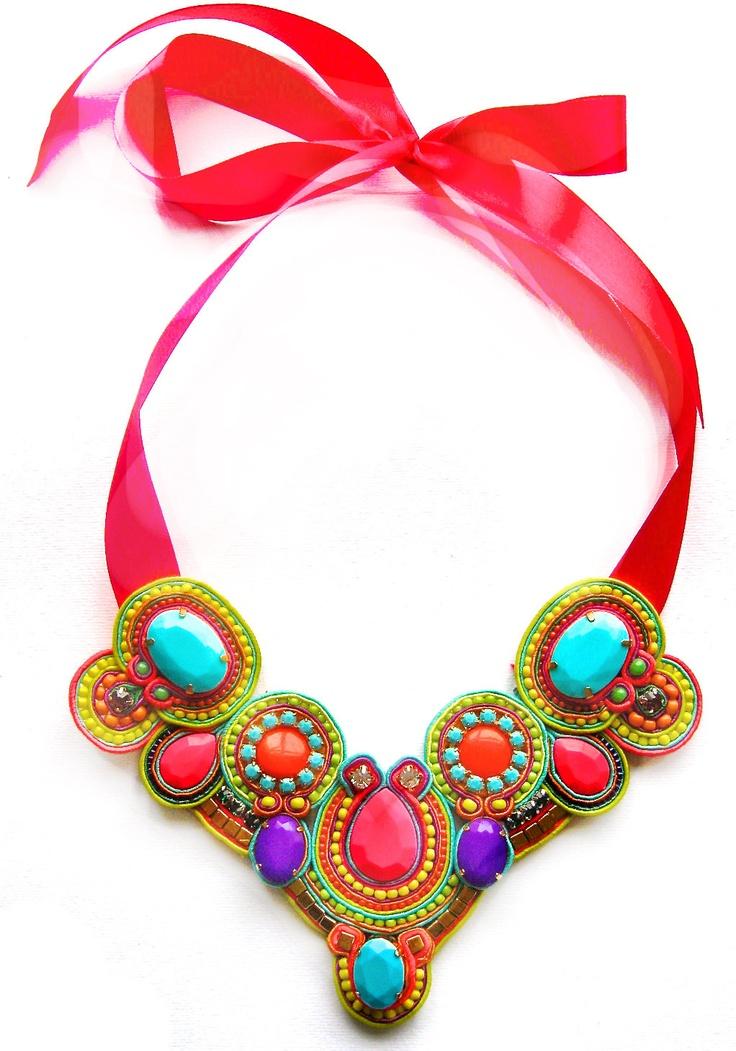 NEON BALLROOM soutache statement necklace in neon pink, green, turquoise, orange and purple