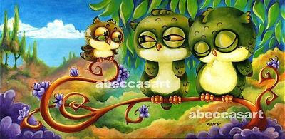 Rebecca McIntyre Abecca's Art Colourful Cute Owls.