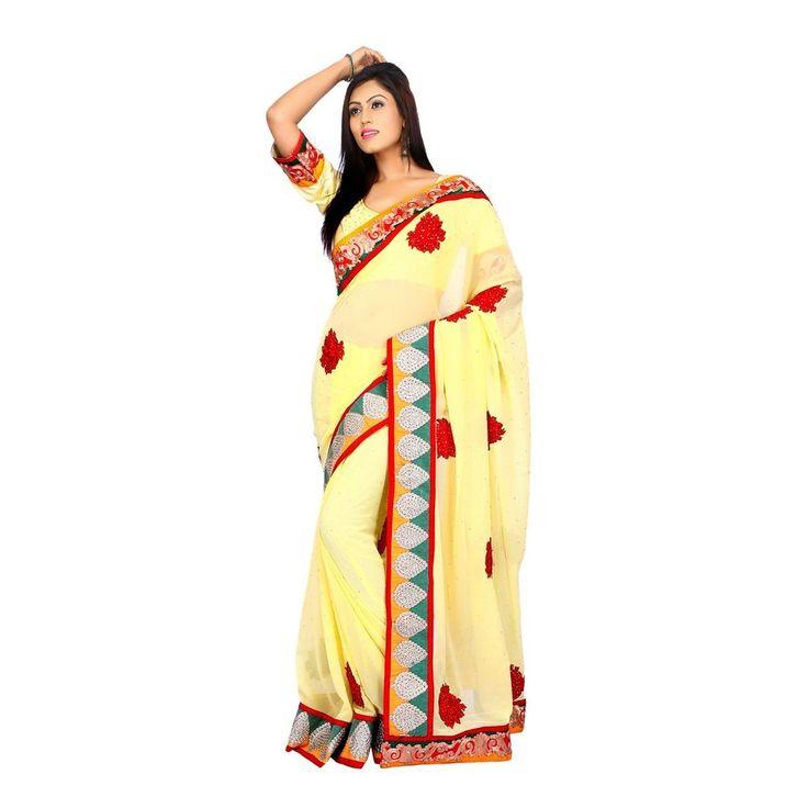 New Indian Wedding Yellow Bamberg Georgette Women Saree with Unstitched Blouse #Milonee #NewDesignerSaree