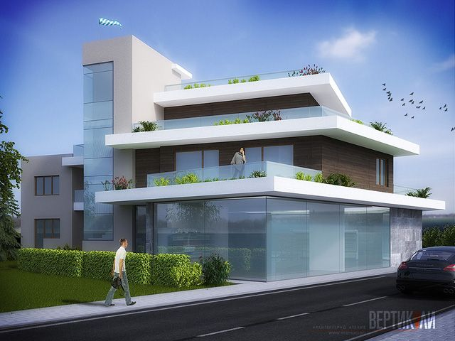 3D House Plan with a Terraces Design – Architecture Admirers