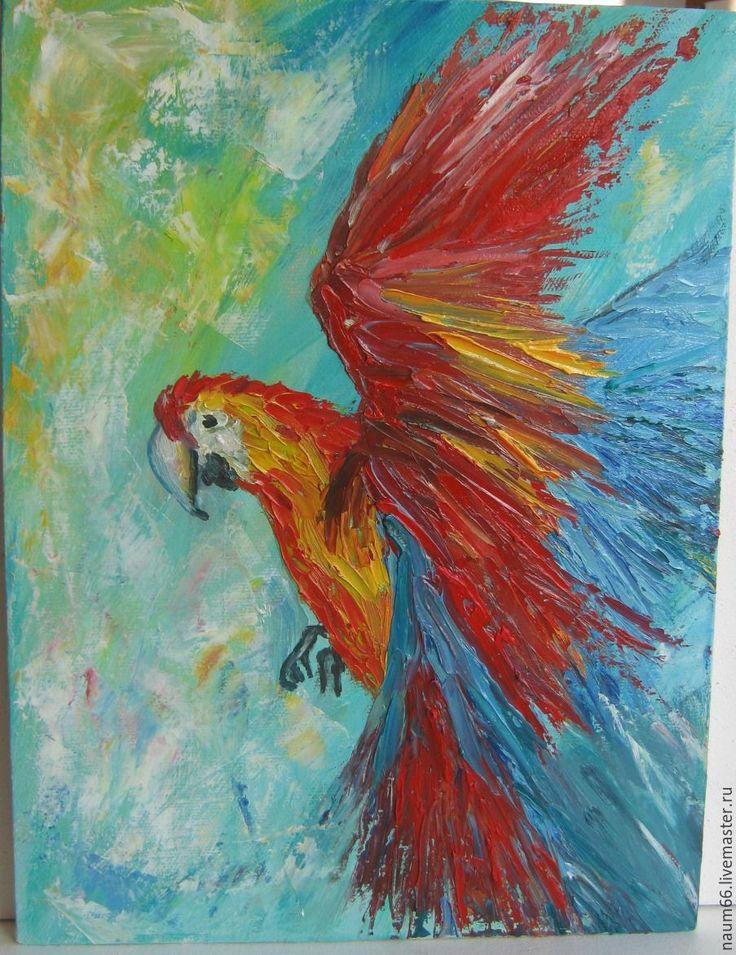 Купить Летящий попугай. Картина маслом - комбинированный, картина, картина для интерьера, картина в подарок, Живопись