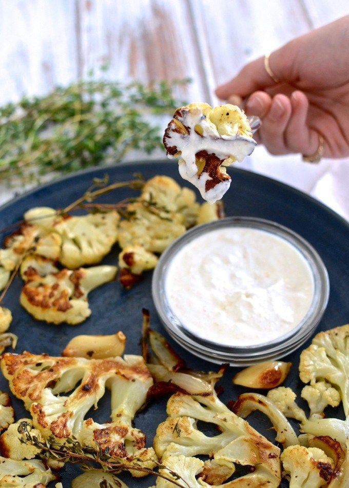 Thyme-Roasted Cauliflower with Horseradish Dipping Sauce at www.mybottomlessboyfriend.com