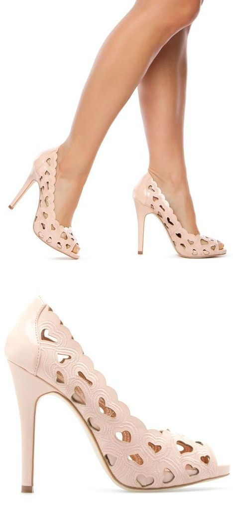 Blush Heart Cutout Heels, size 7, new in box $25 shipped or open up trades
