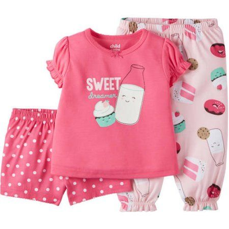 Child of Mine made by Carter's Baby Toddler Girl Shirt, Short and Pant Pajama Set 3 Pieces - Walmart.com