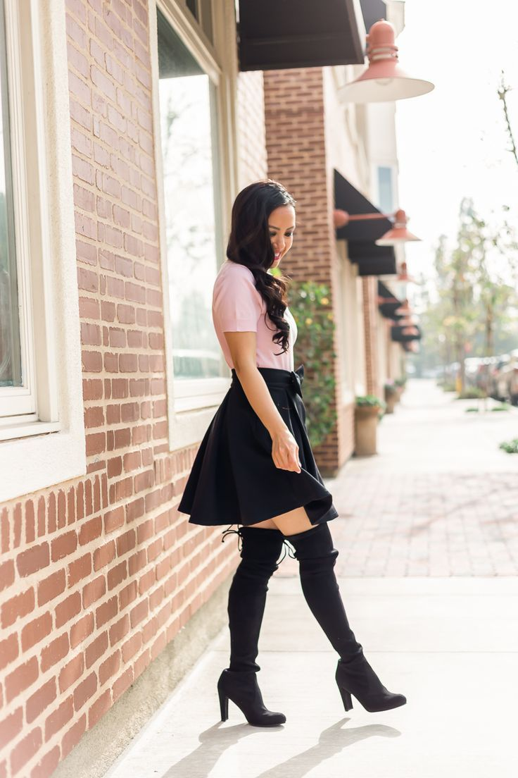 1c41d9f3e4f Valentine s Day outfit idea -pink bow neck sweater black bow skirt over the knee  boots