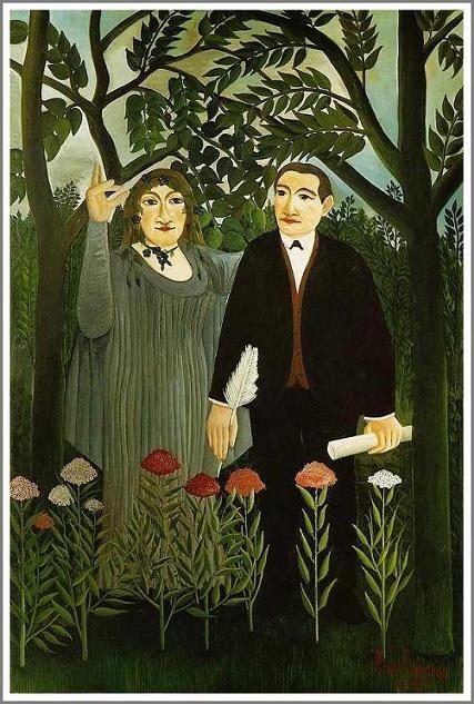 詩人に霊感を与えるミューズ    (La muse inspirant le poete) 1909年  144×114cm   油彩・画布   バーゼル市立美術館