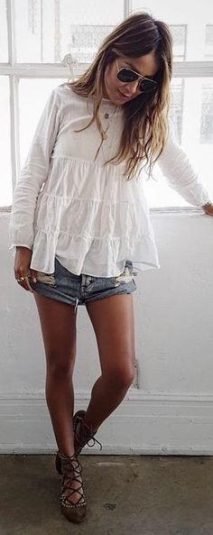 White Flowy Top, Denim Shorts, Cadged Sandals | Casual Boho | Sincerely Jules