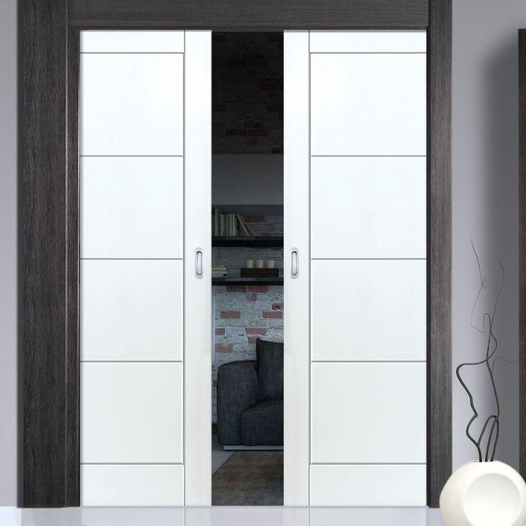 Quattro White Double Pocket Doors