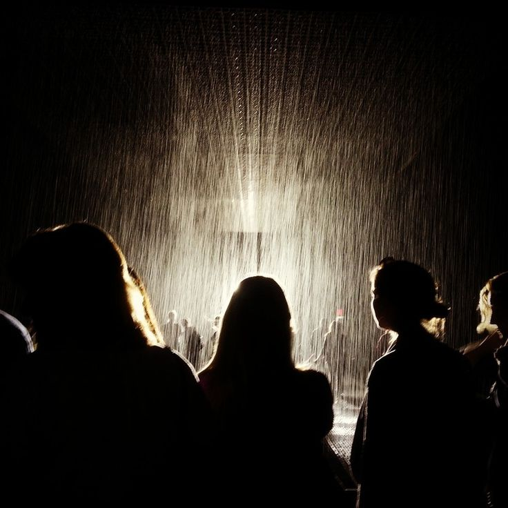 No, this is not the set for a Rhianna video. RAIN ROOM at MoMA.