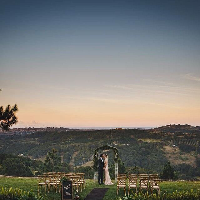 """That view! Gorgeous ceremony styling from Lovestruck Weddings at Summergrove Estate; for Gold Coast Wedding Weekly's """"All That Glitters"""" styled shoot"""