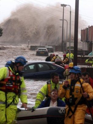 6 December 2013 Lethal storm and tidal surge in UK. The storm hit north Wales where there was flooding in coastal areas with many needed rescuing.