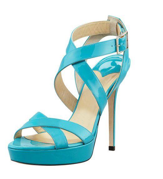 $54.79 Dresswe.comサプライ品青い夏のスティレットヒールレザープラットフォームピープトウの女性はパンプス