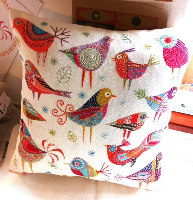 Bird Dance Cushion made up into a cushion 40 x 40 cm square More