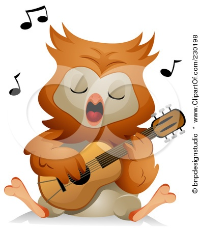 owl playing the guitar - photo #16