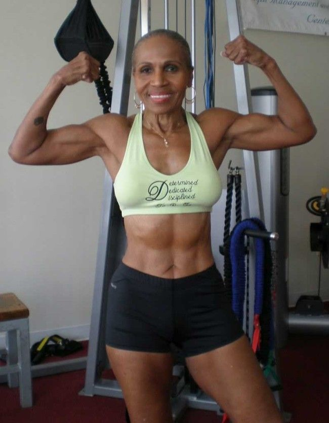 Ernestine Shepherd; gorgeous, healthy, sexy, disciplined, and did I mention she's 77 years old!!