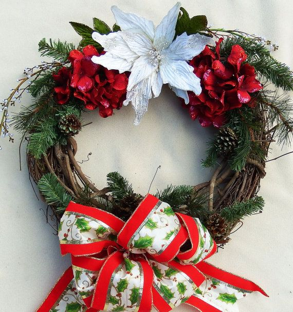 White Poinsettia Christmas Wreath Katherines Collection bow