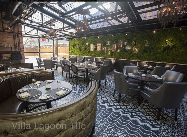 boka restaurant chicagorevamped with villa lagoon cement tile featuring our exclusive ikat patterns - Matchstick Tile Home Design