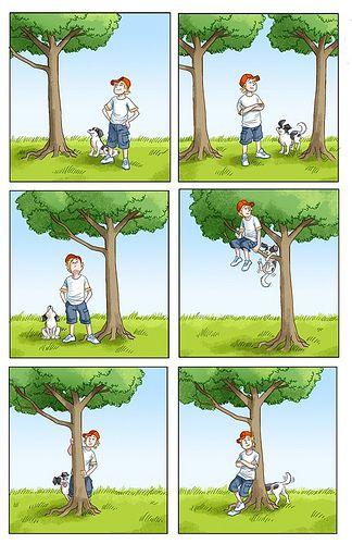 jongen onder, naast, links/rechts/, in, tegen/voor, achter de boom