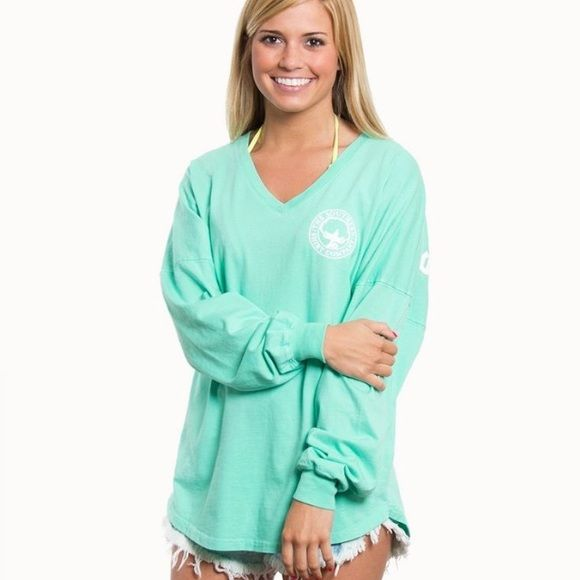 "Southern Shirt Boardwalk Vneck Jersey Mint/""Sail Blue"" color and EUC. So comfy and cute! Southern Shirt Company Tops"