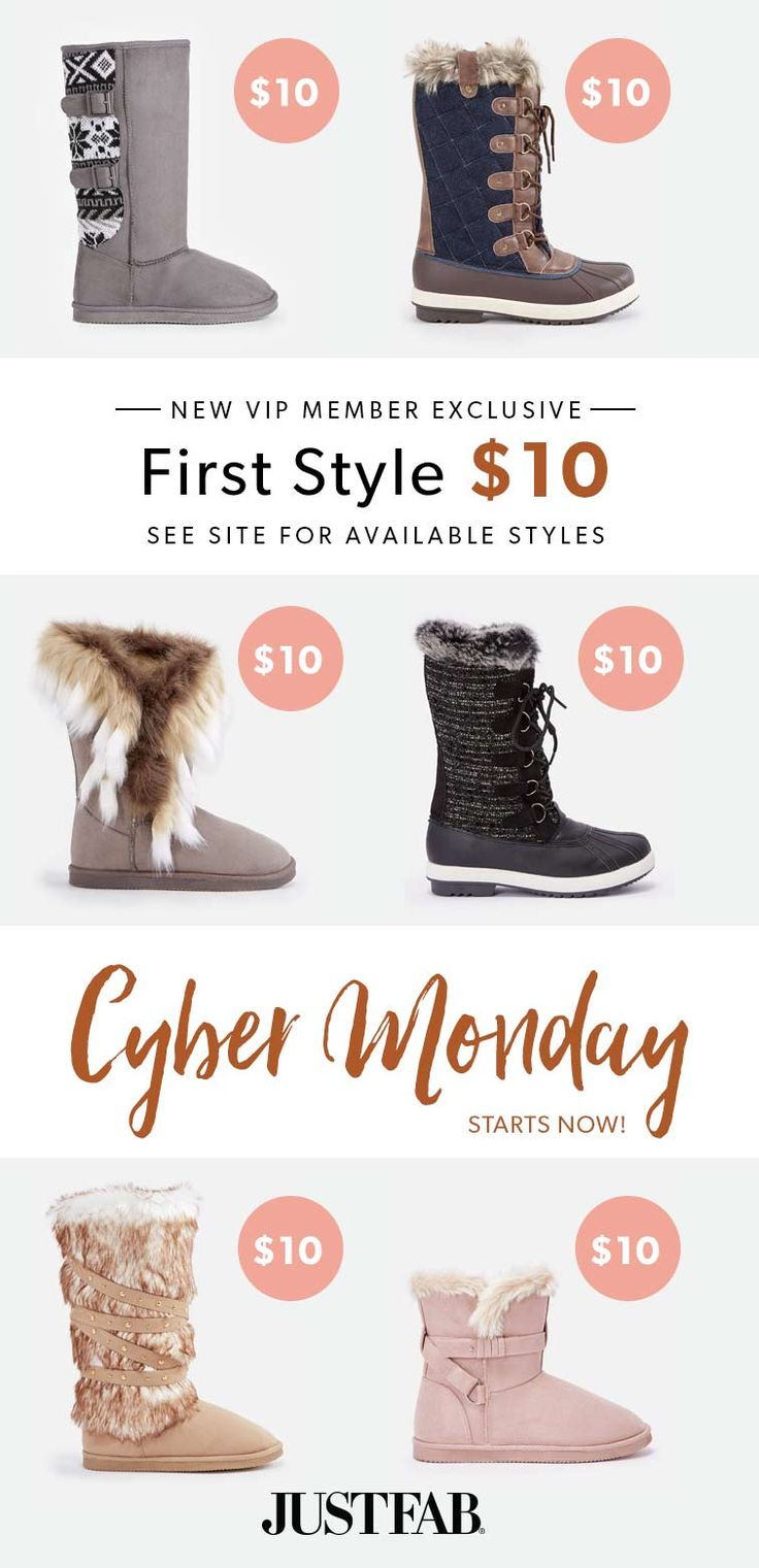 CYBER MONTH FLASH SALE! For a limited time, New VIP's get their first pair of boots for only $10!