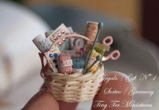 EEeep!  Teeny tiny basket of miniature knitting supplies!  CUTE!